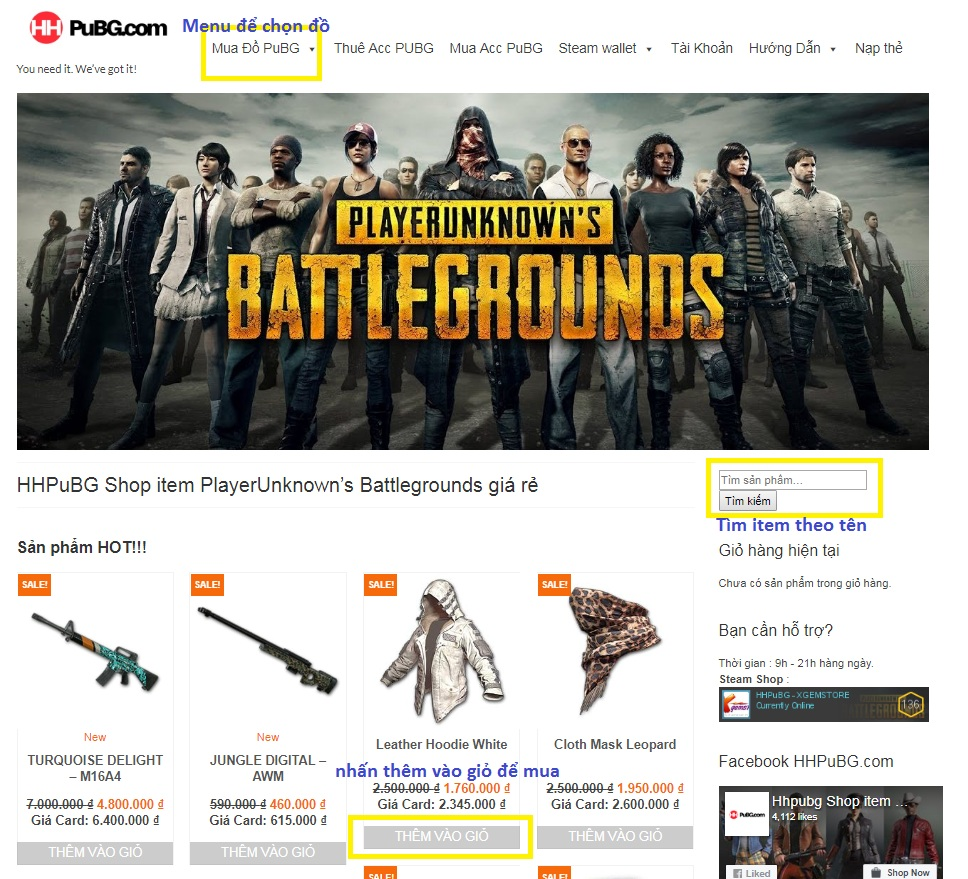 Chọn item bạn muốn mua tại Menu chọn item, hoặc tìm tên item tại khung bên  phải, ở trang chủ cũng có sẵn các item Hot nhất cho bạn chọn.